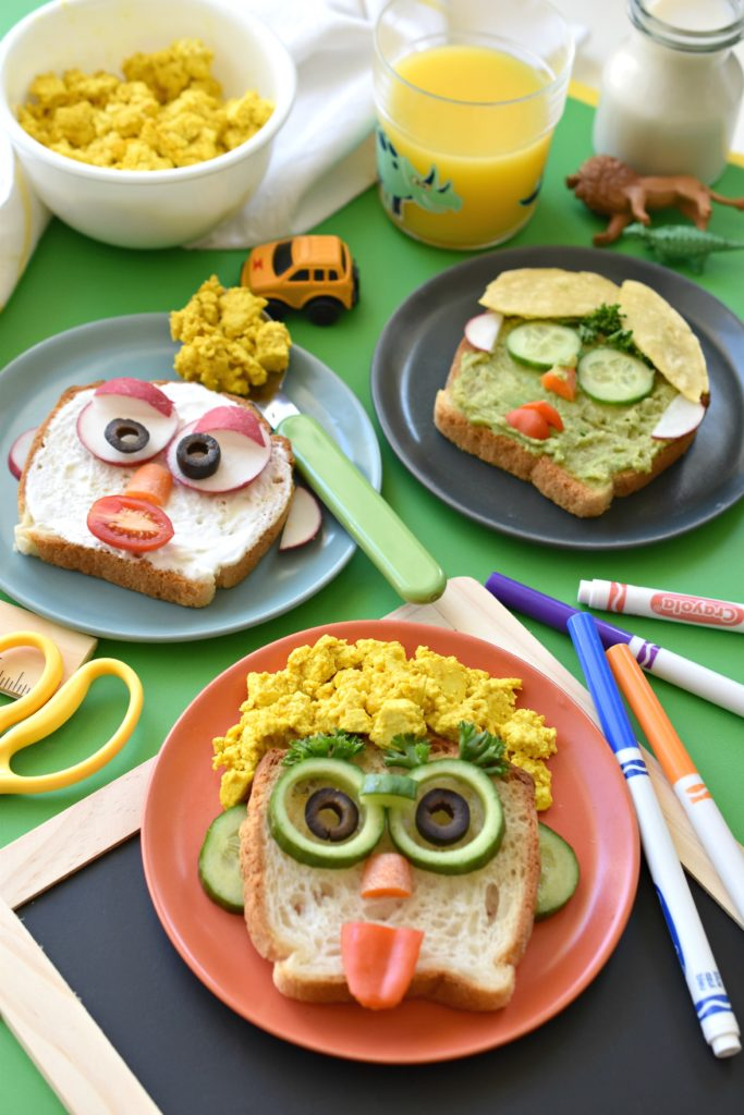 Silly Face Tofu Eggs and Toast. Such a fun idea for breakfast!
