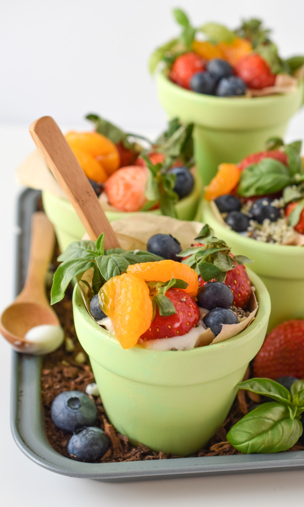 Fresh Fruit Garden Parfait Cups: Layers of fruit and Silk nondairy yogurt make a healthy Spring-themed treat