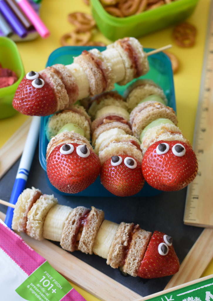 Turn regular ol' PB&Js into showstoppers with these Peanut Butter Jelly Snake Sandwiches. They are an easy yet creative way to add a little flair for your kid's school lunchbox.