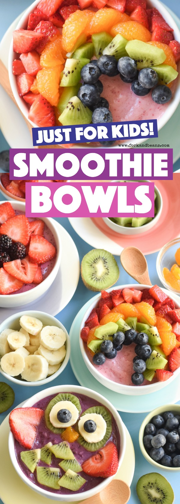Make your family's favorite breakfast by turning frozen fruit and yogurt into these Smoothie Bowls kids will love (with instructions for 3 FUN designs).