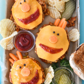 A tray of 3 Lentil Sloppy Joes in the shape of Tobee from Super Simple Songs.